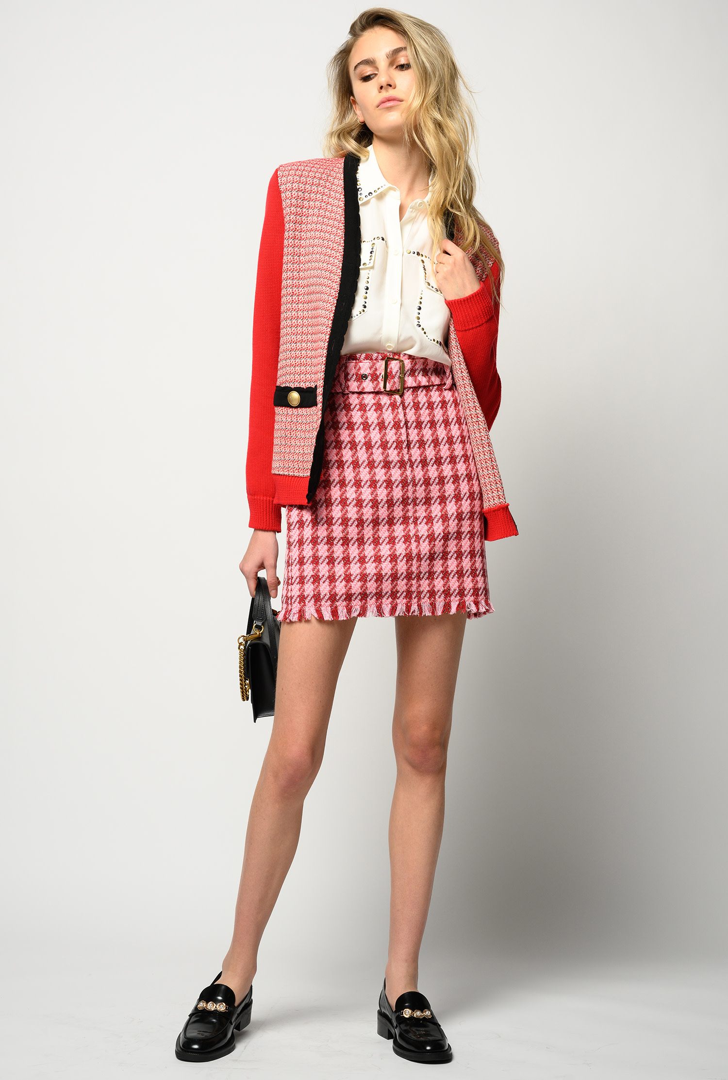 Belted Check-print Mini Skirt