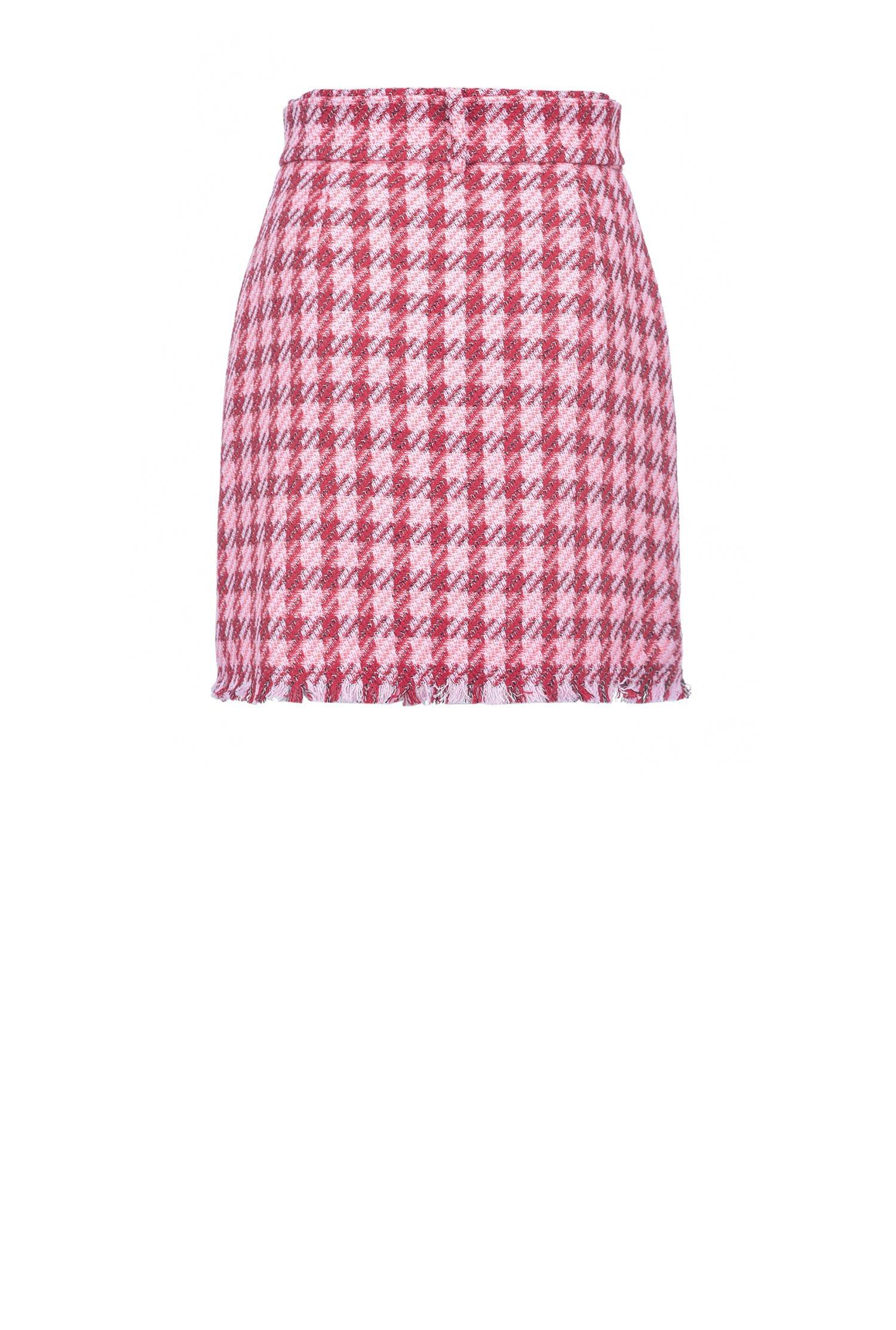 Belted Check-print Mini Skirt
