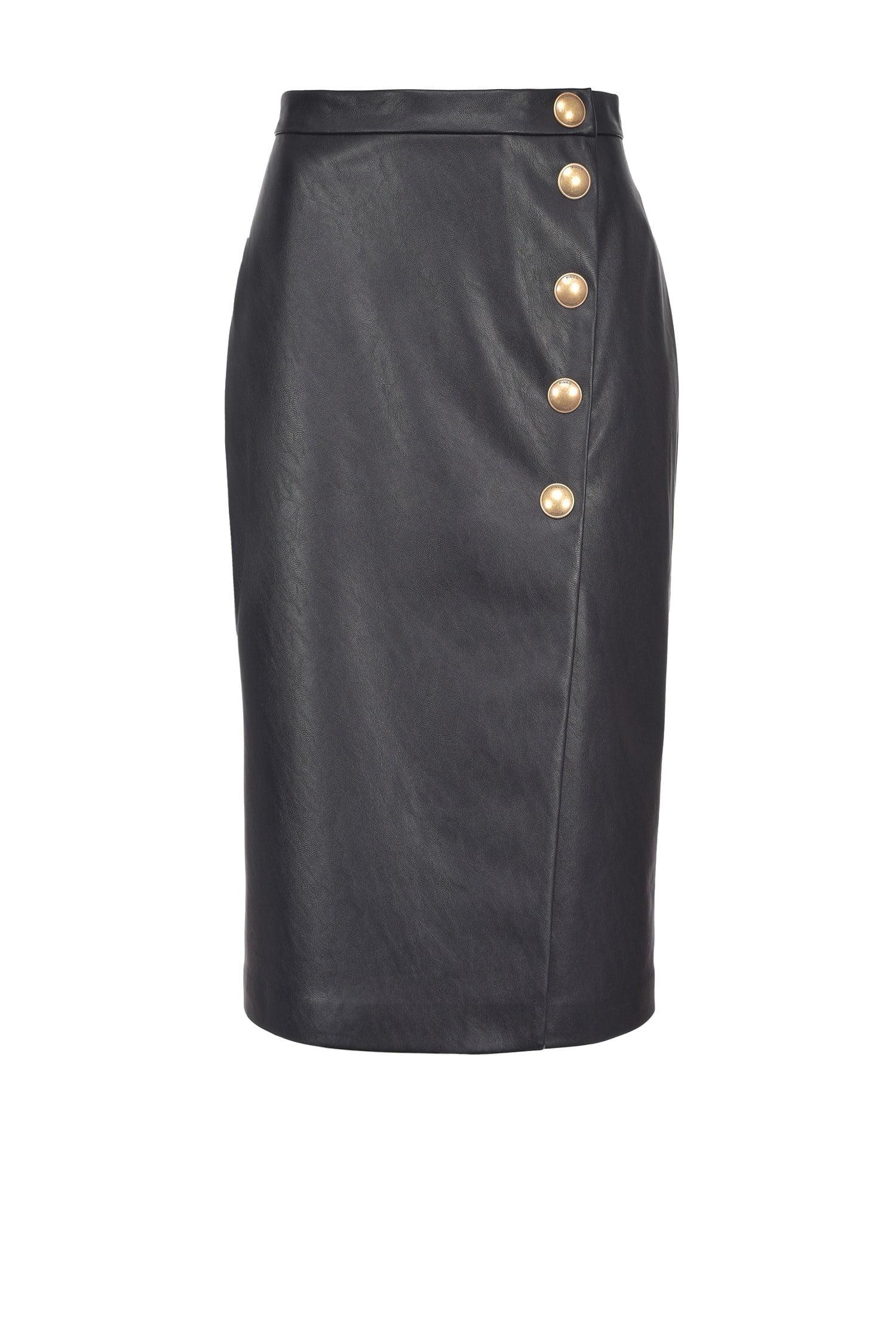 Leather-look Mid-Calf Skirt Black