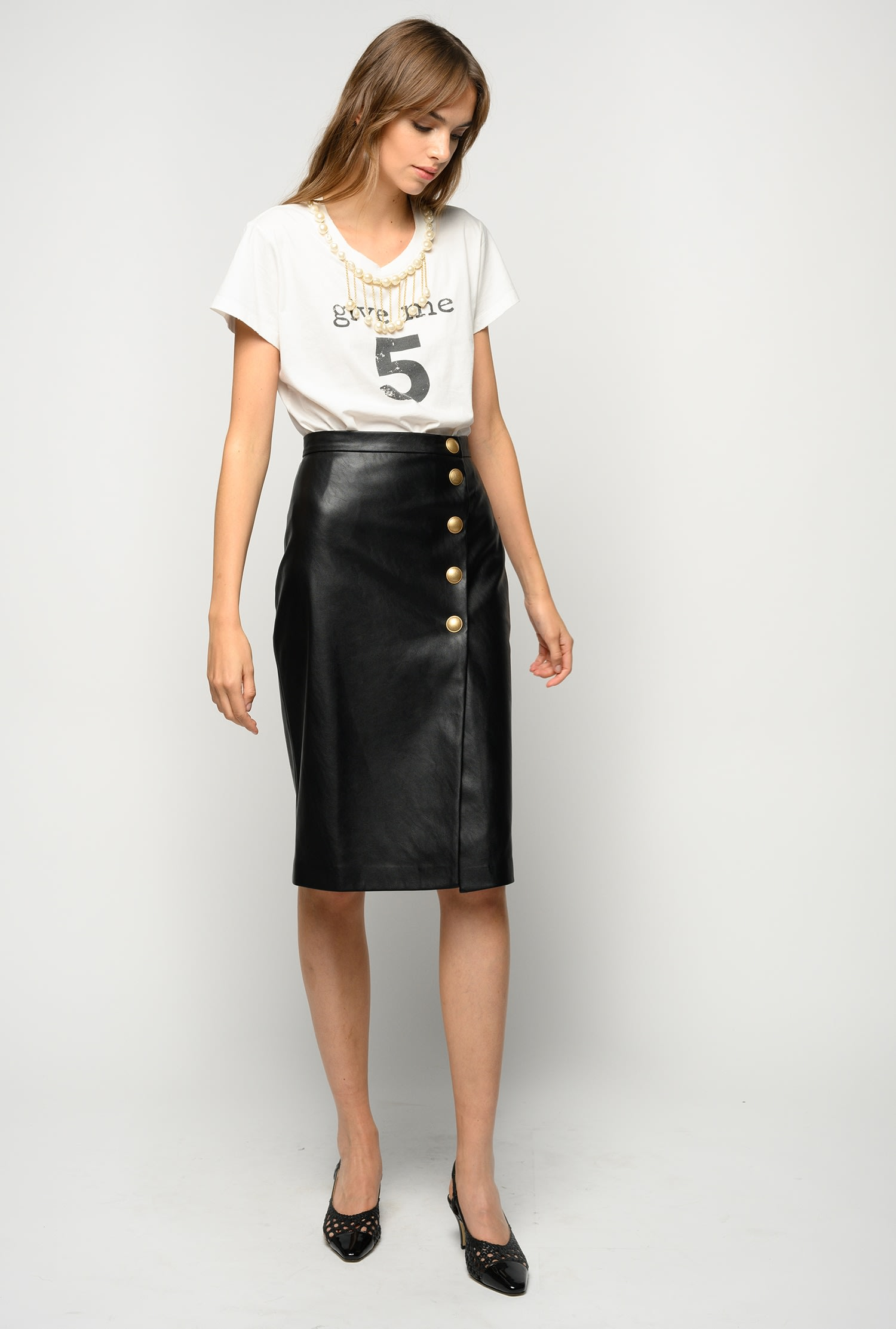 Leather-look Mid-Calf Skirt Black