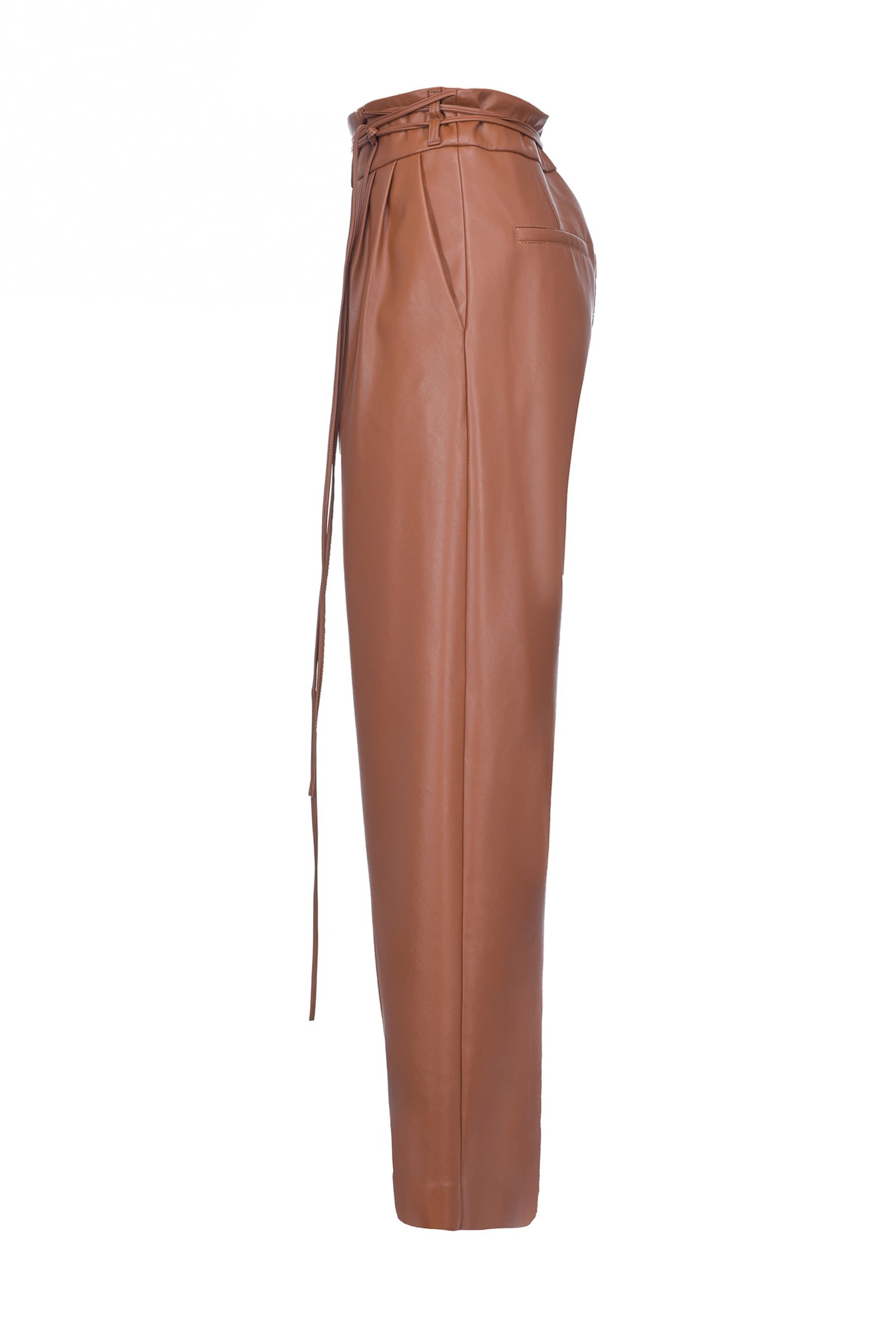 Leather-look Trousers With Narrow Belt Marrone Noce