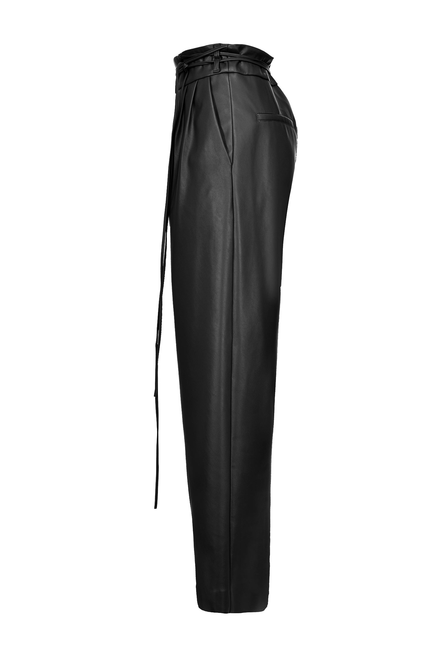Leather-look Trousers With Narrow Belt Black